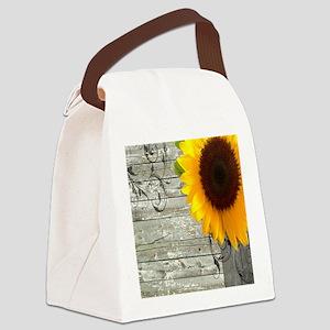 sunflower primitive barn board Canvas Lunch Bag