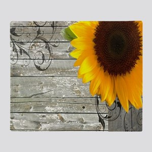 sunflower primitive barn board Throw Blanket