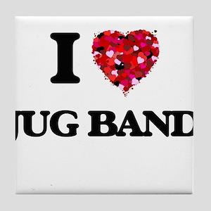 I Love My JUG BAND Tile Coaster