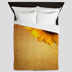 western country rustic sunflower Queen Duvet