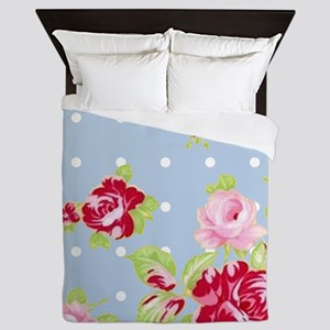 Roses On Blue Queen Duvet
