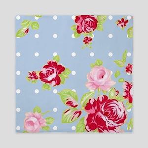 Roses On Blue Queen Duvet