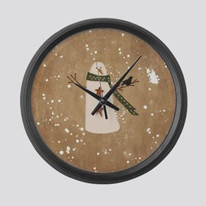 Primitive Snowman Large Wall Clock