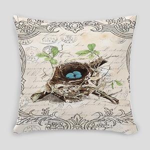 modern vintage french bird nest Everyday Pillow