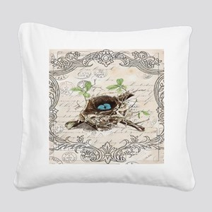 modern vintage french bird ne Square Canvas Pillow