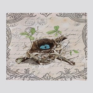modern vintage french bird nest Throw Blanket