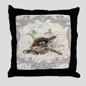 modern vintage french bird nest Throw Pillow