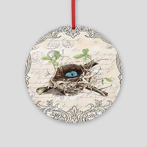 modern vintage french bird nest Round Ornament