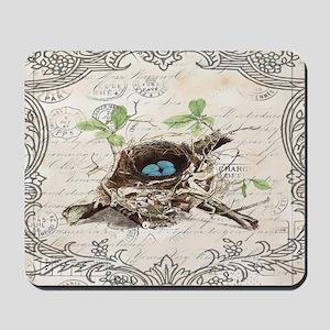 modern vintage french bird nest Mousepad