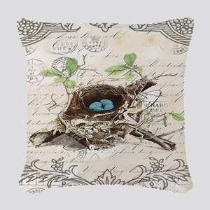 modern vintage french bird nes Woven Throw Pillow
