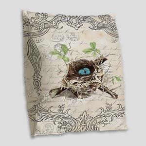 modern vintage french bird nes Burlap Throw Pillow
