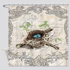 modern vintage french bird nest Shower Curtain