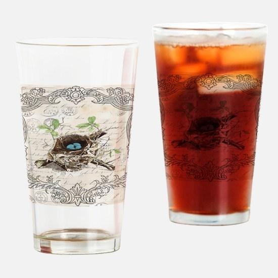modern vintage french bird nest Drinking Glass