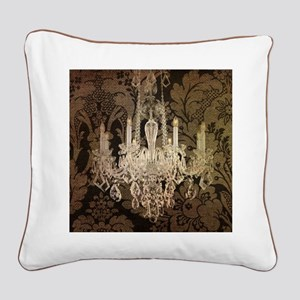 steampunk damask vintage chan Square Canvas Pillow