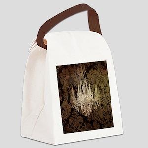 steampunk damask vintage chandeli Canvas Lunch Bag