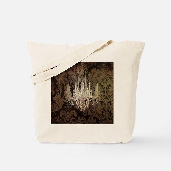 steampunk damask vintage chandelier Tote Bag