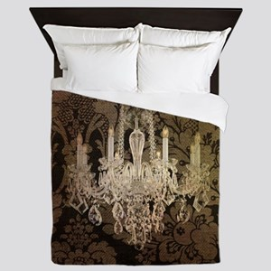 steampunk damask vintage chandelier Queen Duvet