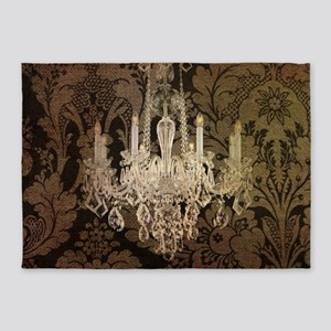 steampunk damask vintage chandelier 5'x7'Area Rug