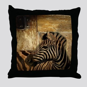 rustic wood safari zebra Throw Pillow