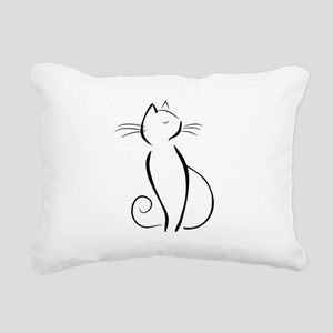 Line drawn black cat Rectangular Canvas Pillow