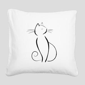 Line drawn black cat Square Canvas Pillow