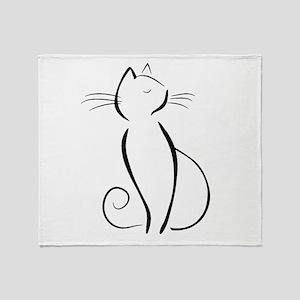 Line drawn black cat Throw Blanket