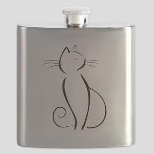 Line drawn black cat Flask