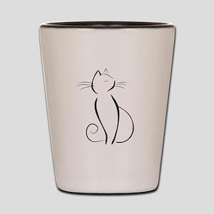 Line drawn black cat Shot Glass