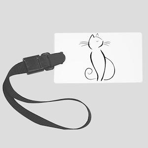 Line drawn black cat Luggage Tag