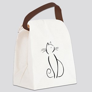 Line drawn black cat Canvas Lunch Bag
