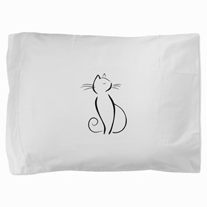 Line drawn black cat Pillow Sham