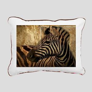 rustic wood safari zebra Rectangular Canvas Pillow