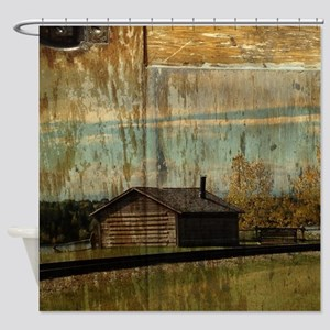 western rustic log cabin Shower Curtain