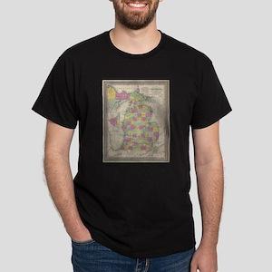 Vintage Map of Michigan (1853) T-Shirt