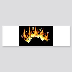 FLAMING ROYAL FLUSH POKER ART Bumper Sticker