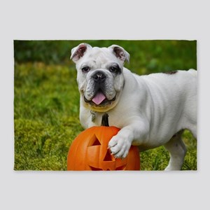 Halloween Bulldog 5'x7'Area Rug
