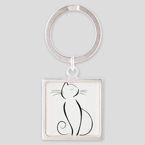 Line drawn black cat Keychains