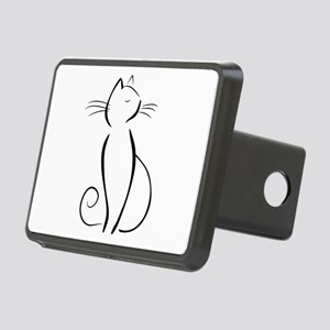 Line drawn black cat Hitch Cover