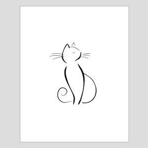 Line drawn black cat Posters