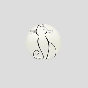 Line drawn black cat Mini Button
