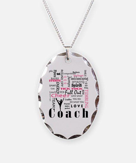 Unique Cheerleader coach Necklace Oval Charm
