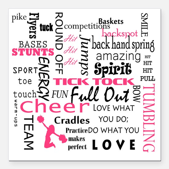 """Funny Cheer Square Car Magnet 3"""" x 3"""""""