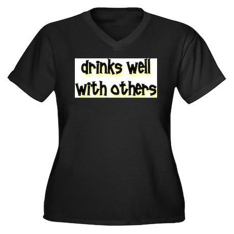 drinks well Women's Plus Size V-Neck Dark T-Shirt