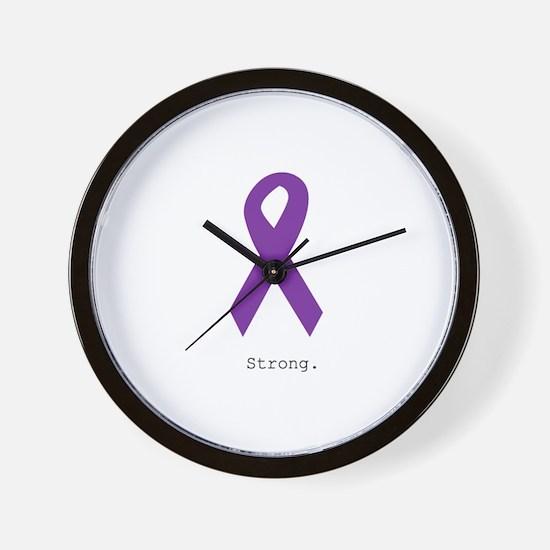 Strong. Purple Ribbon Wall Clock