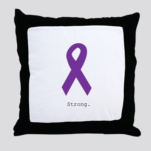 Strong. Purple Ribbon Throw Pillow
