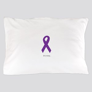 Strong. Purple Ribbon Pillow Case