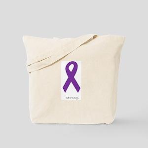 Strong. Purple Ribbon Tote Bag