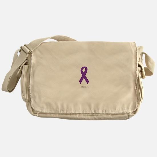 Strong. Purple Ribbon Messenger Bag