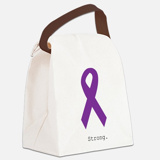 Strong. Purple Ribbon Canvas Lunch Bag