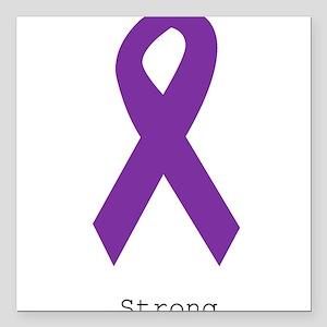 "Strong. Purple Ribbon Square Car Magnet 3"" x 3"""